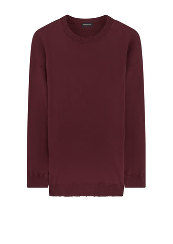 Oversized Raw Edge Sweater in Bordeaux