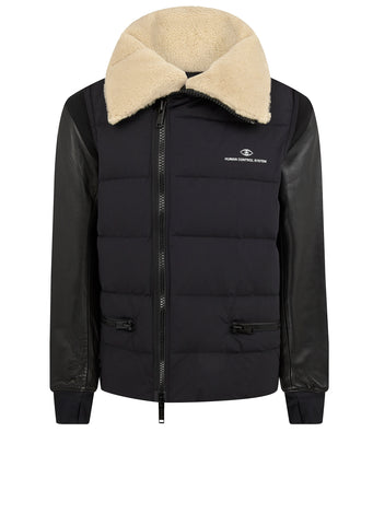Contrast Padded Bomber Jacket in Black
