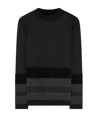 AW17 Contrast Border Mock Neck Sweat in Black