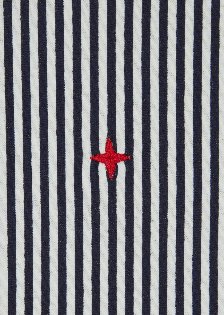 Marina Embroidered Stripe T-Shirt in Ink Grey
