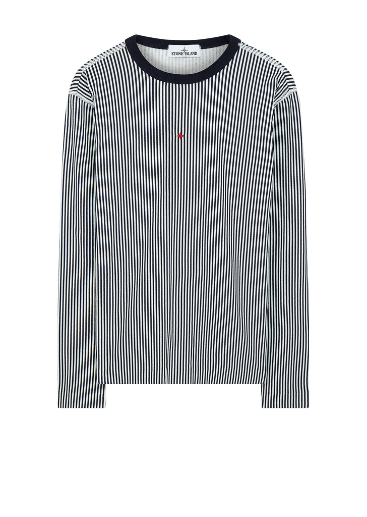 Marina Long Sleeve Embroidered Stripe T-Shirt in Ink Grey