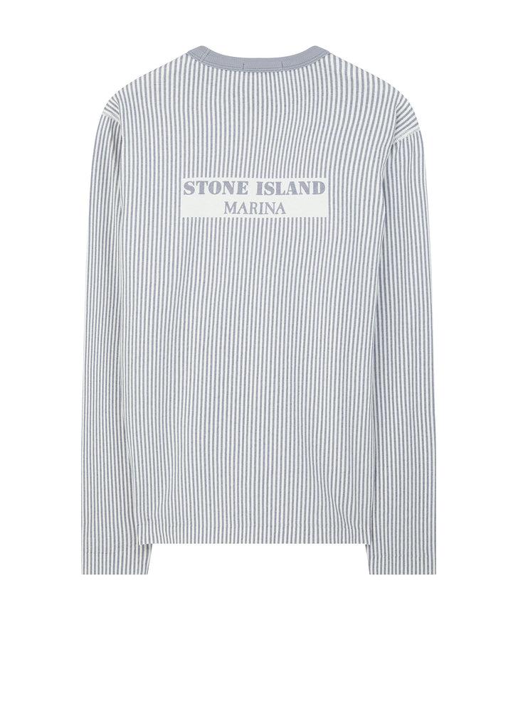 Marina Long Sleeve Embroidered Stripe T-Shirt in Lavender