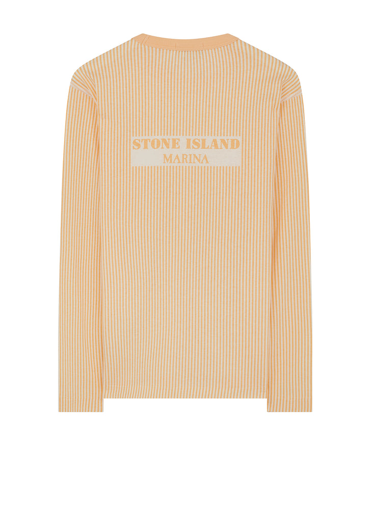Marina Long Sleeve Embroidered Stripe T-Shirt in Salmon