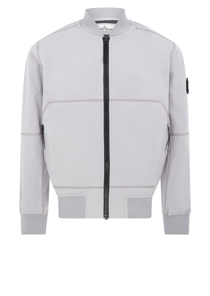 Soft Shell SI Check Grid Bomber Jacket in Lavender