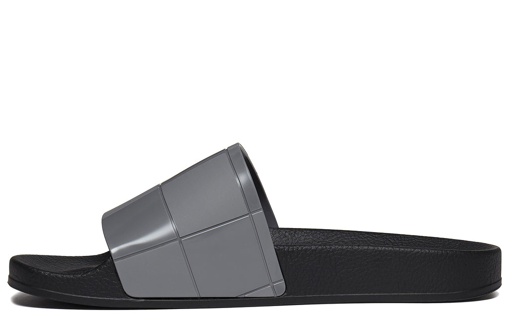 SS18 Checkerboard Adilette Slides in Grey