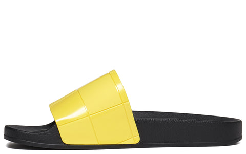 SS18 Checkerboard Adilette Slides in Yellow