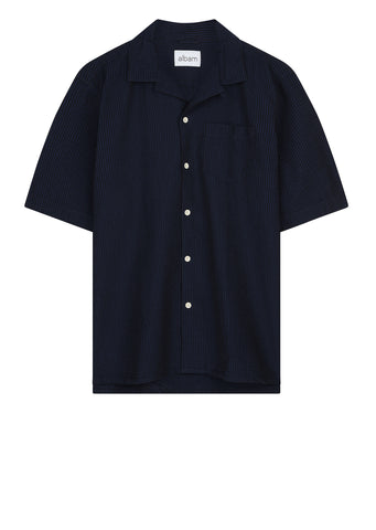 Panama Seersucker Shirt in Navy