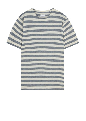 Boat Neck Tee in Blue/White