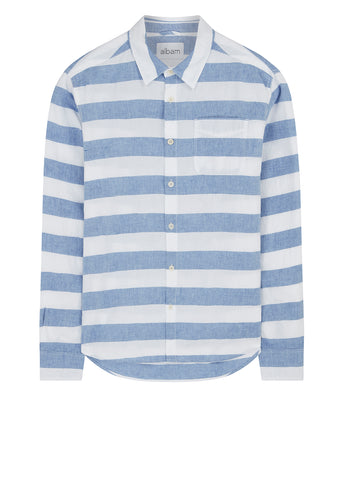 Thick Stripe Hockney Shirt in Blue