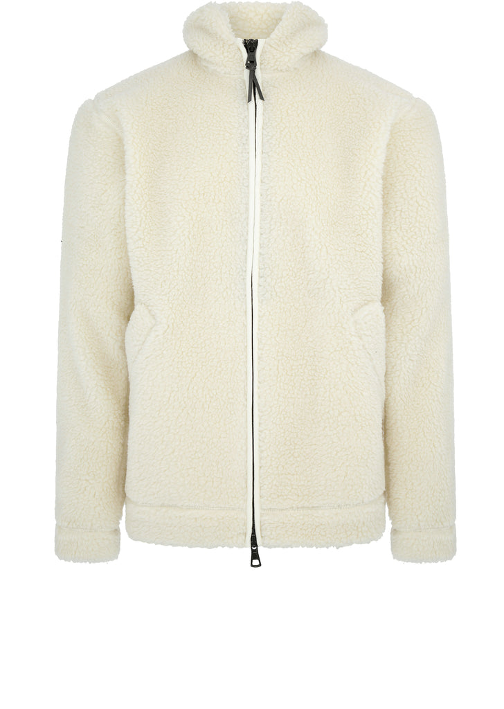 Fleece Zip Jacket in Ecru