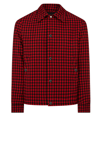 Checked Coach Jacket in Red