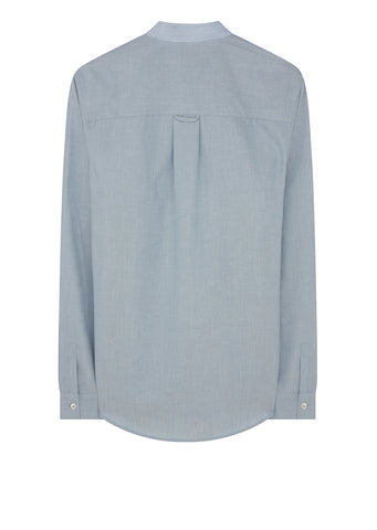 Alejandro Band Collar Shirt in Blue