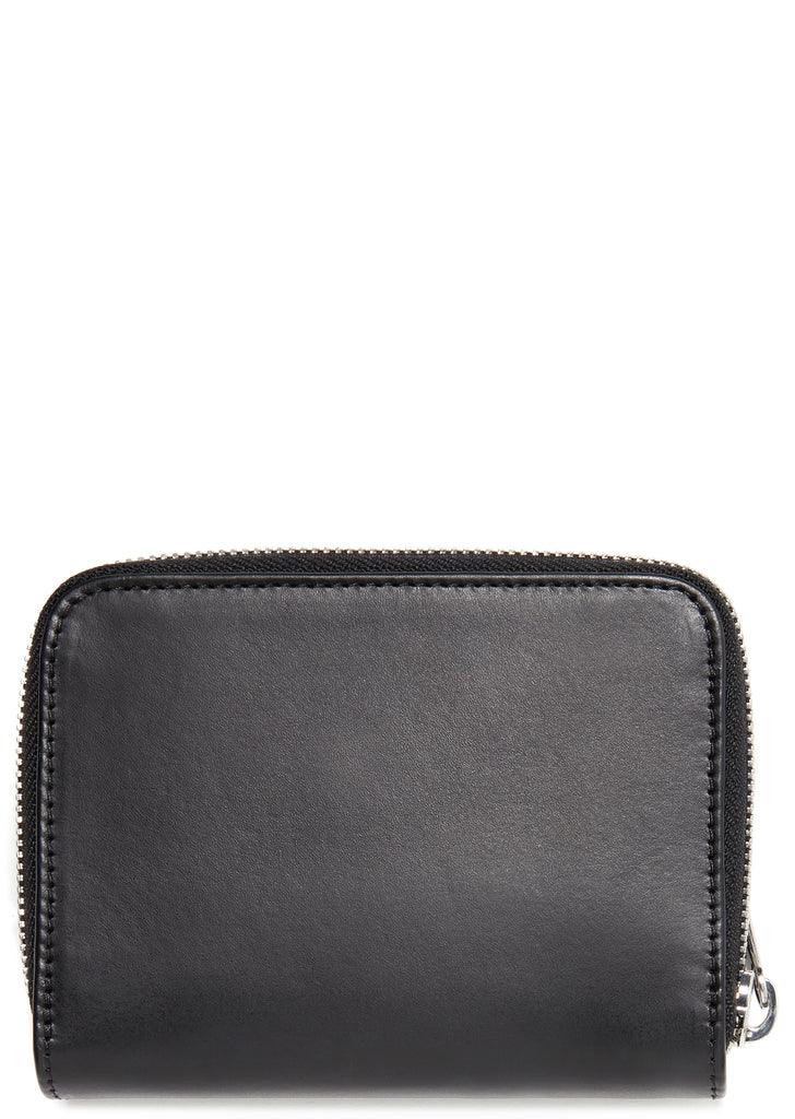 Emmanuelle Leather Compact Wallet in Black