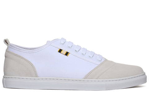 APR001 Suede & Canvas Low in White