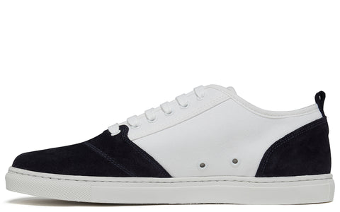 APR001 Suede & Canvas Low in White/Dark Navy