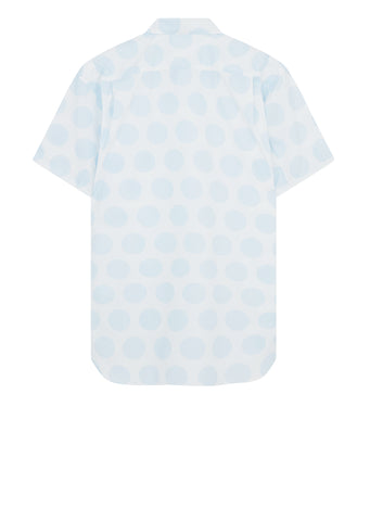Short Sleeve Spot Shirt in White/Light Blue