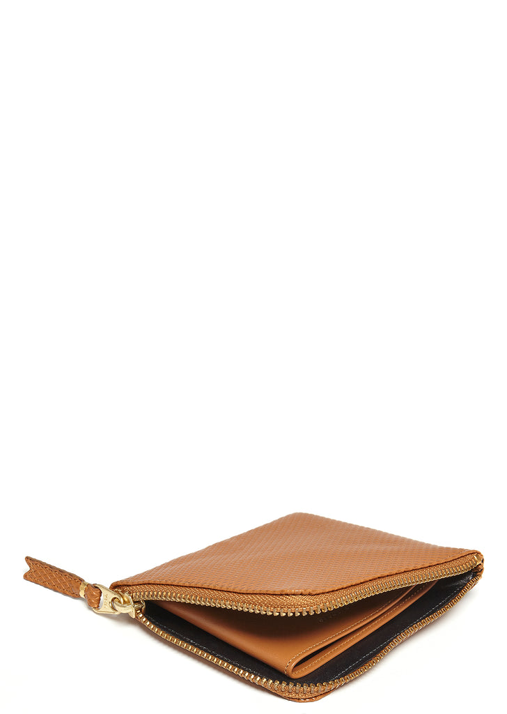 Textured Leather Wallet in Tan