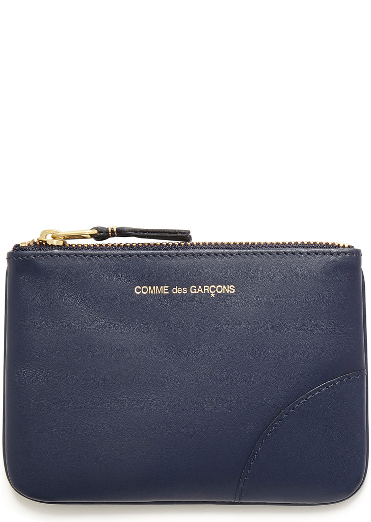 Leather Coin Wallet in Navy