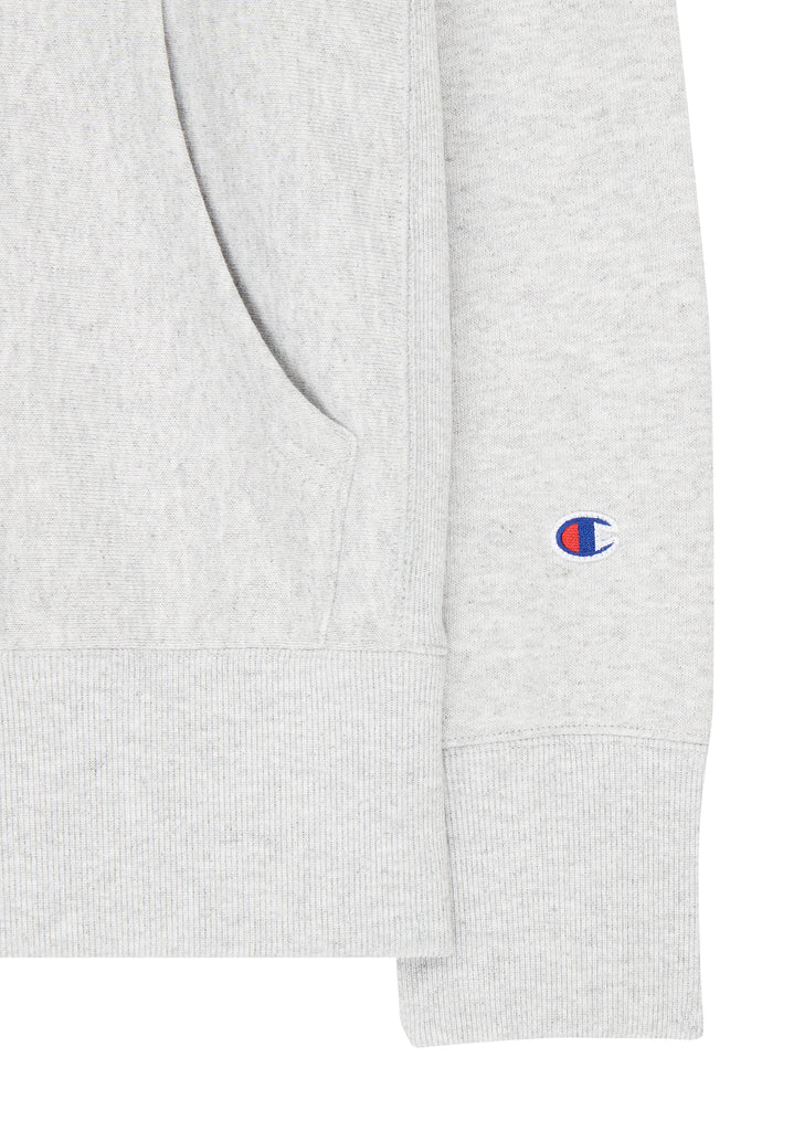 Script Logo Embroidered Hooded Sweatshirt in Grey