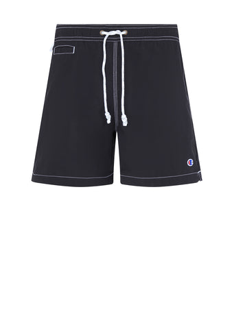 Reverse Weave Swim Short in Black