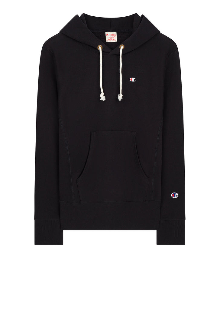 Classic Applique Hooded Sweatshirt in Black
