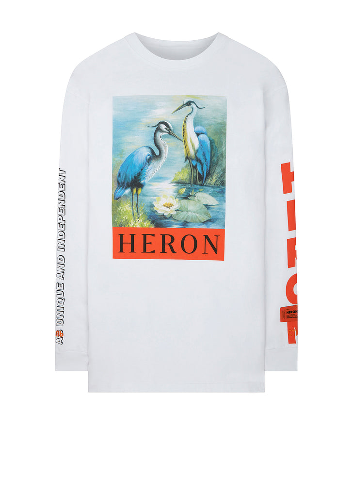 SS18 KK Herons Long Sleeve T-Shirt in White