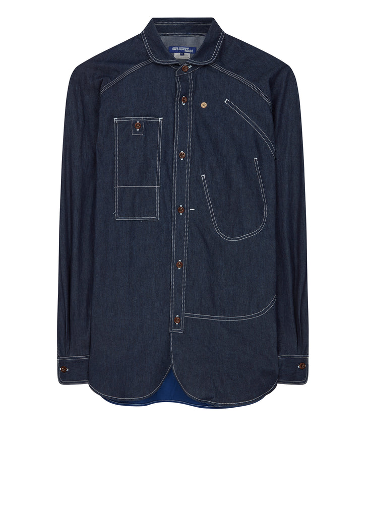 Carhartt Asymmetric Detail Patchwork Denim Shirt in Blue