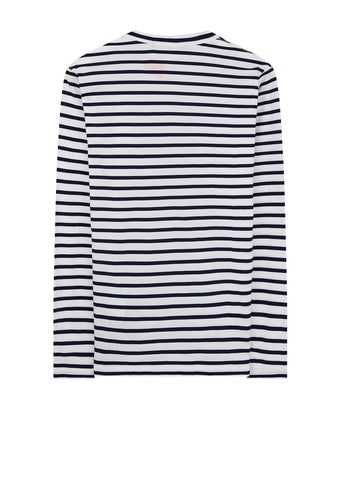 Alan Kitching Print Striped Long Sleeve T-Shirt in White