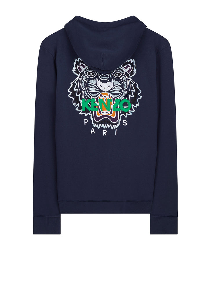 Tiger Embroidered Hooded Sweatshirt in Black