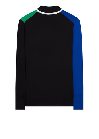 Colourblock Zip Neck Jumper in Blue/Green/Black