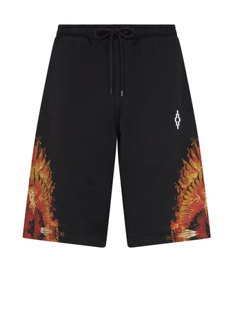 Flame Wings Sweat Shorts in Black