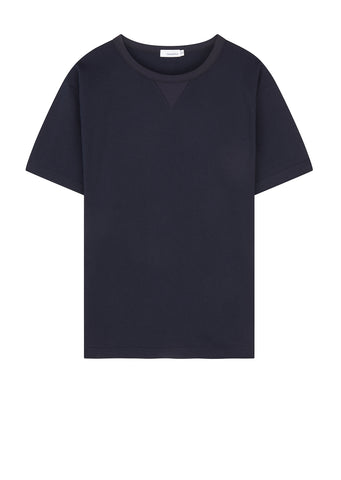 Half Sleeve Crew Neck Sweatshirt in Navy