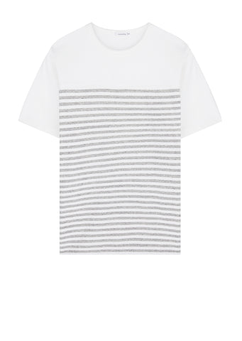 Jersey Shoulder Panel T-Shirt in White/Grey