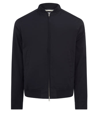 Ryan Poplin Bomber Jacket in Dark Navy