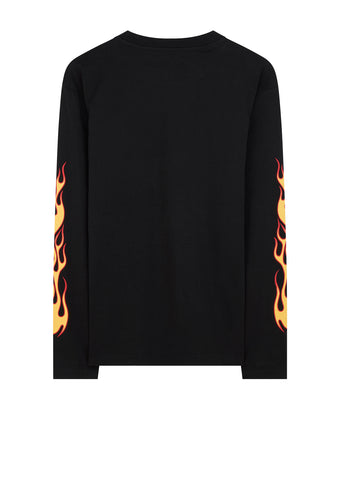 Flames Long Sleeve T-Shirt in Black