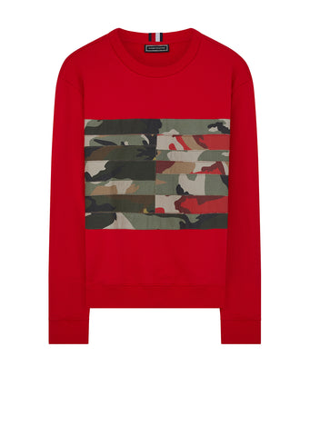 Camouflage Flag Panel Sweatshirt in Red