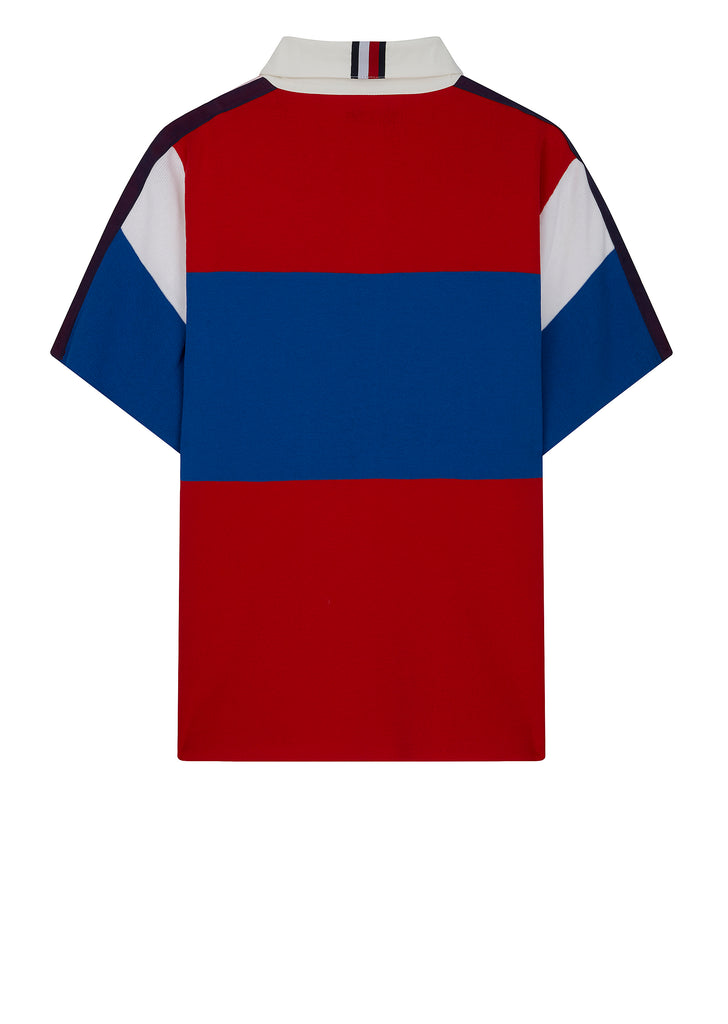 Short Sleeve Oversized Rugby Shirt in Red