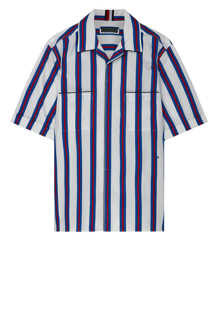 Short Sleeve Bowling Shirt in White/Blue