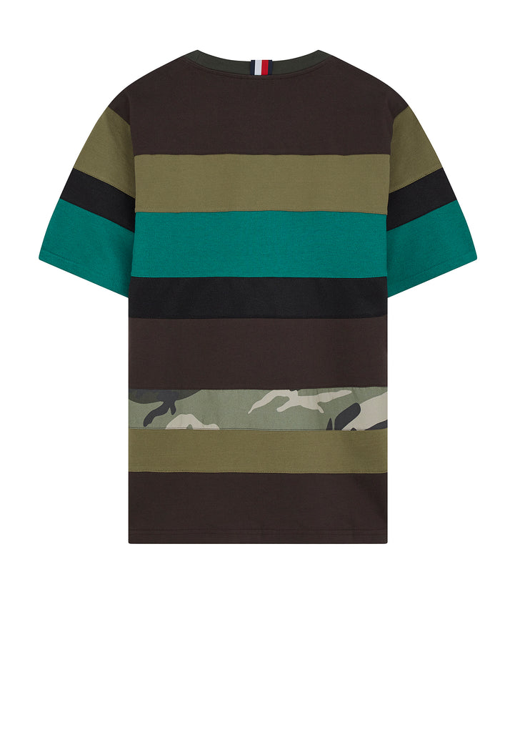 Long Mix Stripe T-Shirt in Black Olive