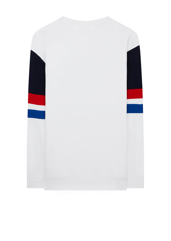 Colorblock Collegiate Crew Sweatshirt in White