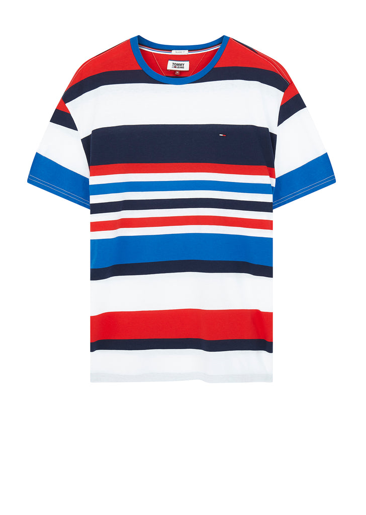 Multicolour Stripe Relaxed T-Shirt in Blue