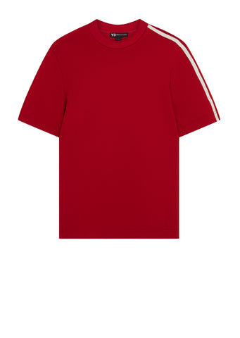 3-Stripe Short Sleeve Sweatshirt in Red