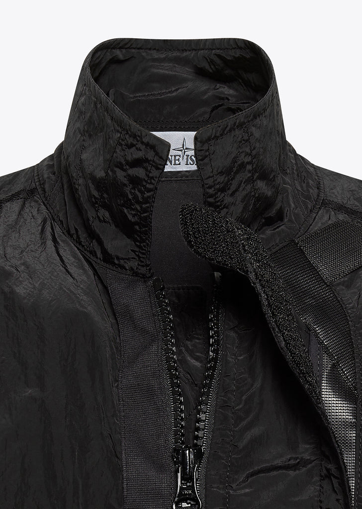 Nylon Metal Zip Overshirt in Black