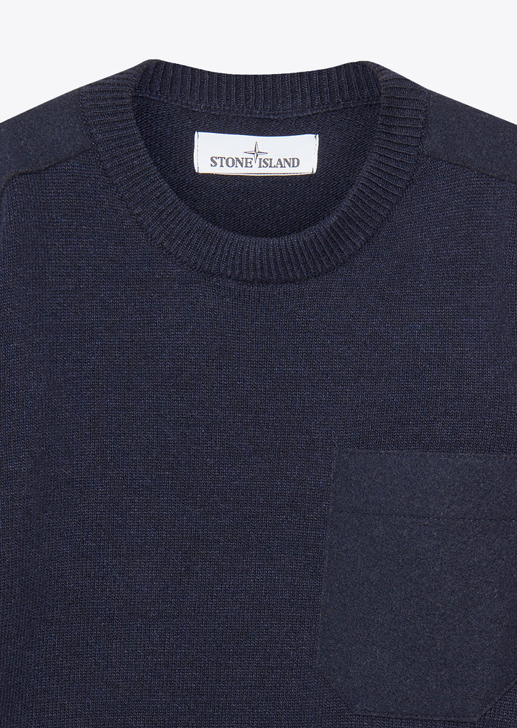 Knitted Single Pocket Crew Neck Sweater in Navy