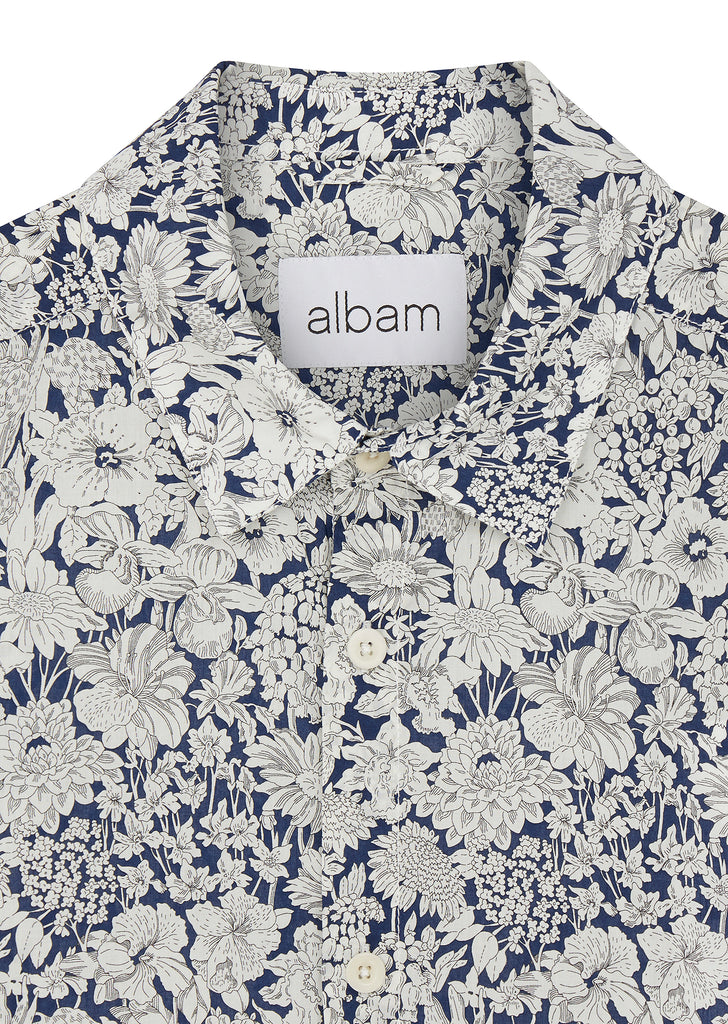 Liberty Floral Print Short Sleeve Shirt in Navy/White