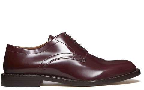 SS17 Hi Shine Effect Leather Derby Shoe in Burgundy