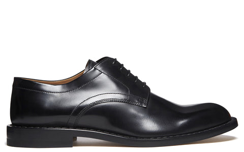 SS17 Brushed Effect Leather Derby Shoe in Black