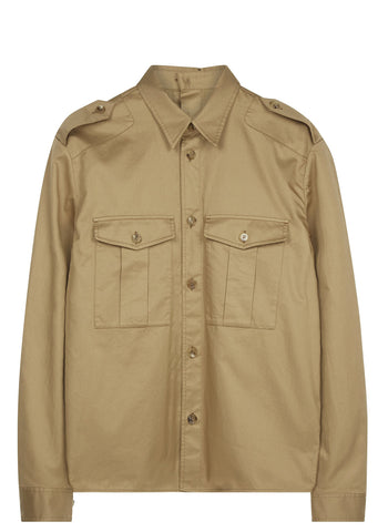 SS17 Button Back Military Overshirt in Olive