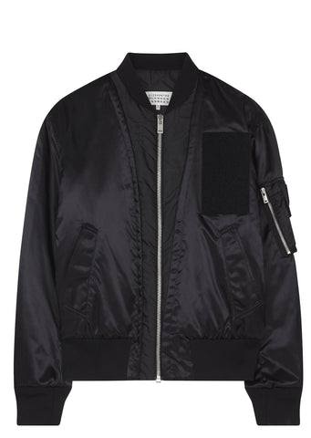 SS17 Nylon Satin MA-1 Bomber in Black