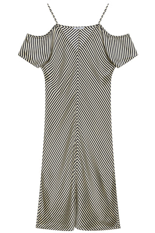SS17 Striped Silk Dress in Black/White